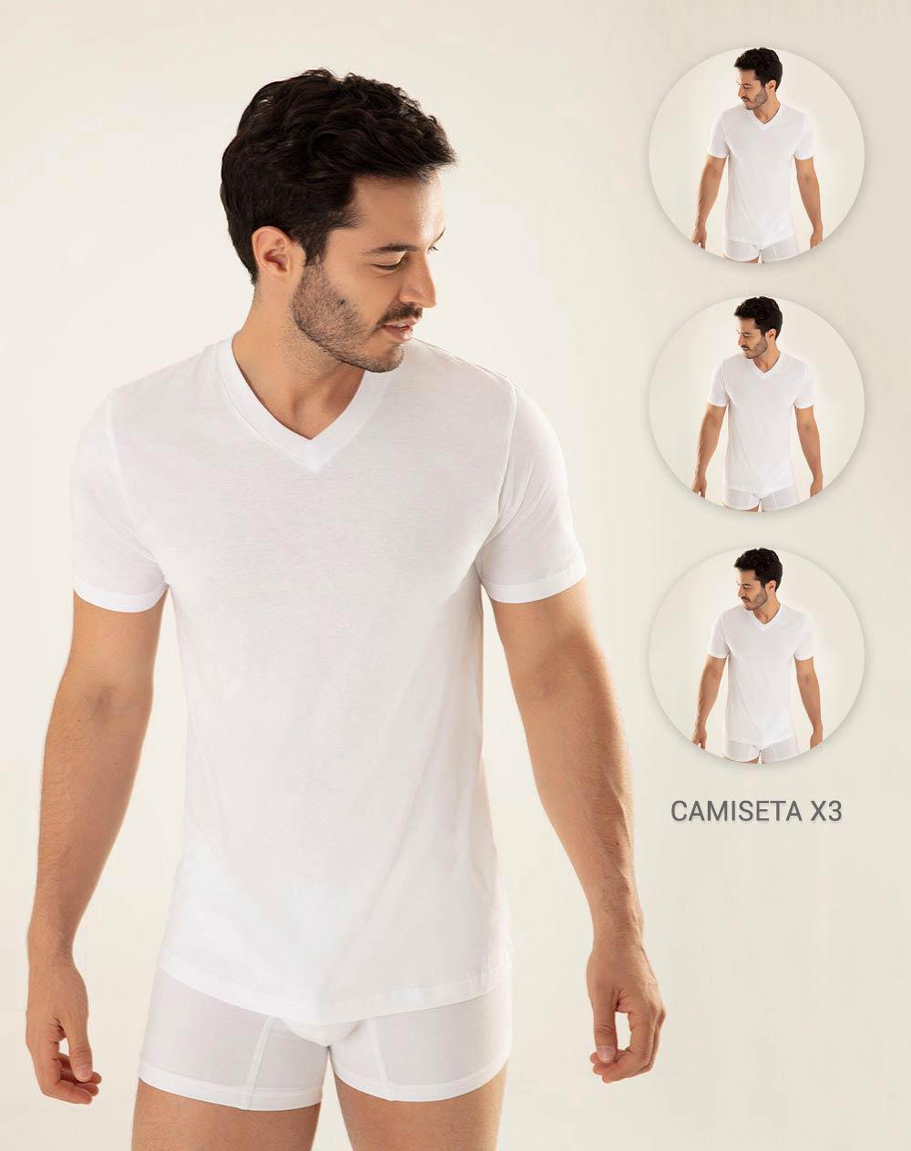 Trío de Camisetas para Hombre Juno Blanca Gef